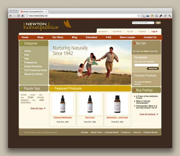 Newton Homeopathics website